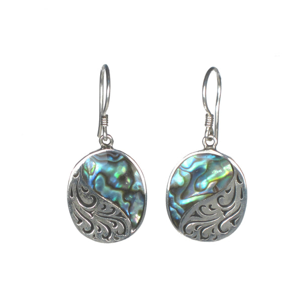 Oval Earrings with Silver Filigree and Shell Detail - Multiple Colors Available - Pieces of Bali