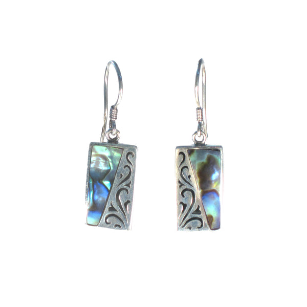 Rectangle Earring with Silver Filigree and Shell Detail - Multiple Colors Available - Pieces of Bali