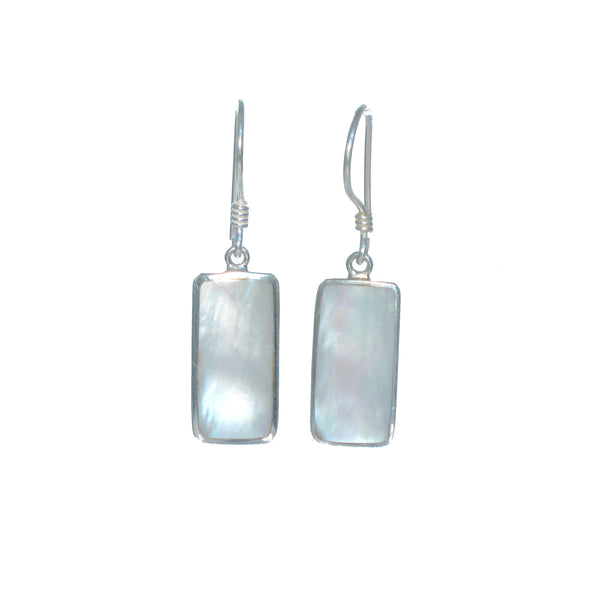 Rectangular Shell Dangle Earrings - Multiple Colors Available - Pieces of Bali