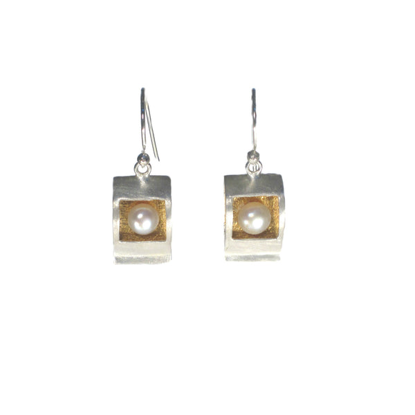Silver and Gold Box with Pearl Dangle Earring - Pieces of Bali