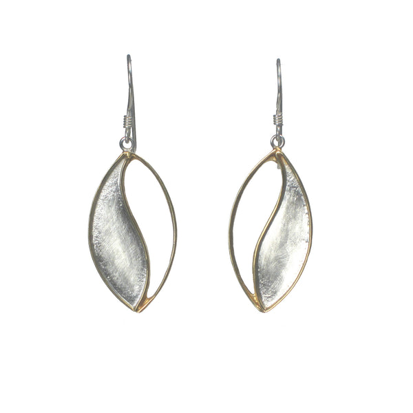 Silver and Gold Leaf Dangle Earring - Pieces of Bali