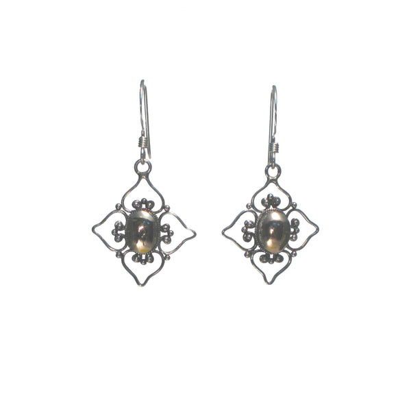 Filigree Flower with Rose Gold Dangle Earring - Pieces of Bali
