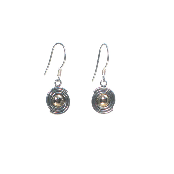 Silver and Rose Gold Saturn Dangle Earrings - Pieces of Bali