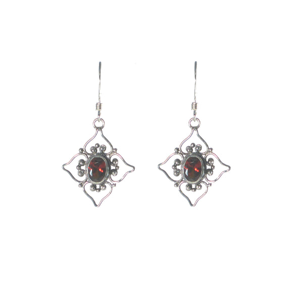 Filigree Flower with Stone Dangle Earring - Multiple Stones Available - Pieces of Bali