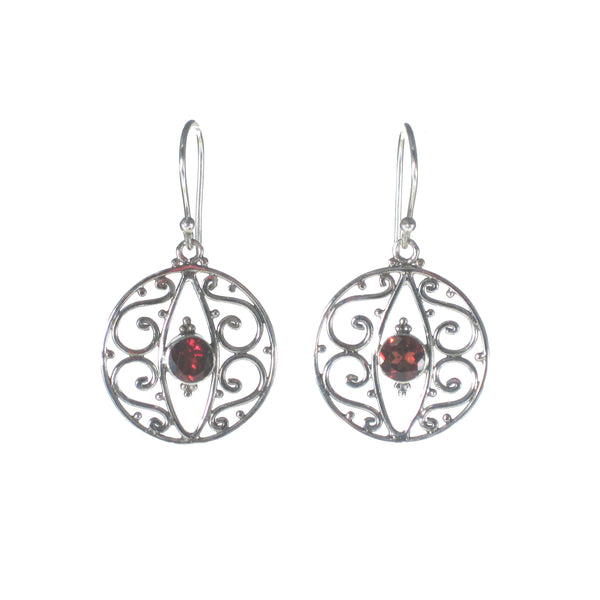Wire Filigree Diamond with Small Stone Dangle Earrings - Pieces of Bali