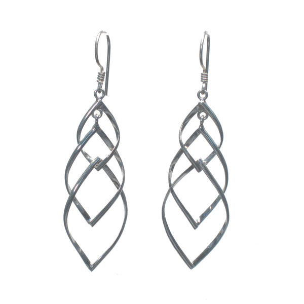 Interlocking Silver Weave Dangle Earrings - Pieces of Bali