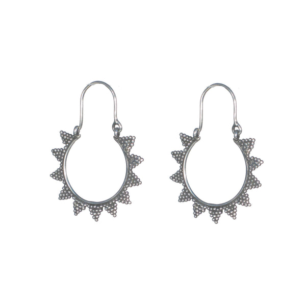 Medium Hoops with Pointed Dot Detail Earrings - Pieces of Bali