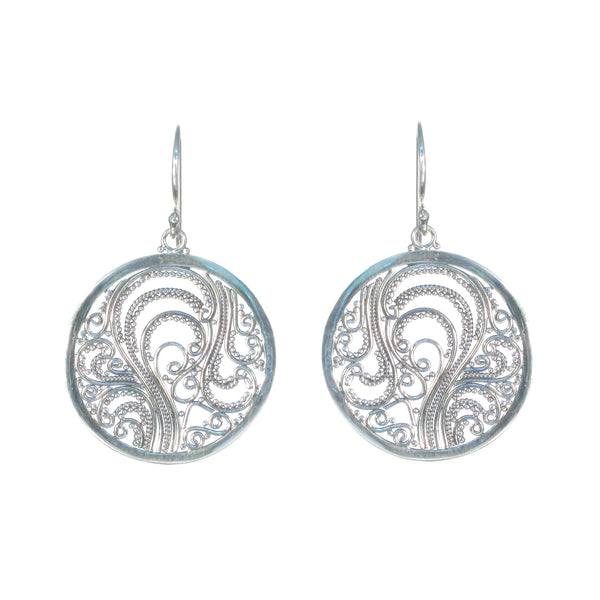 Filigree Circle Dangle Earrings - Pieces of Bali