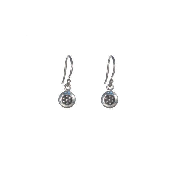Small Silver Circle with Dots Earrings - Studs and Dangle Available - Pieces of Bali