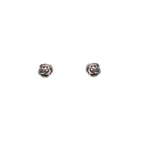 Small Silver Rose Studs - Pieces of Bali