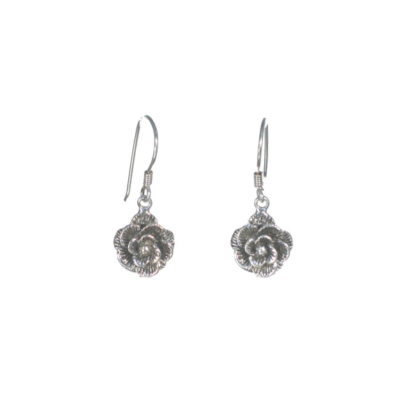 Large Silver Rose Dangle Earrings - Pieces of Bali