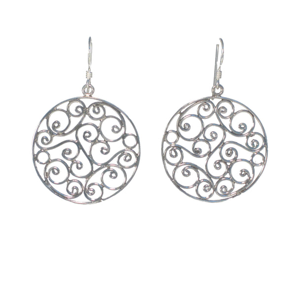 Round Silver Swirl Filigree Dangle Earring - Pieces of Bali