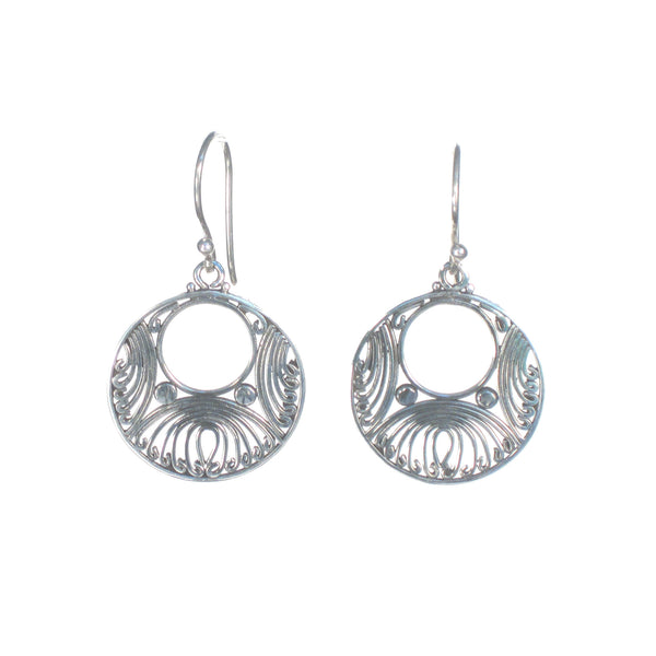 Filigree Circle with Open Center Dangle Earring - Pieces of Bali