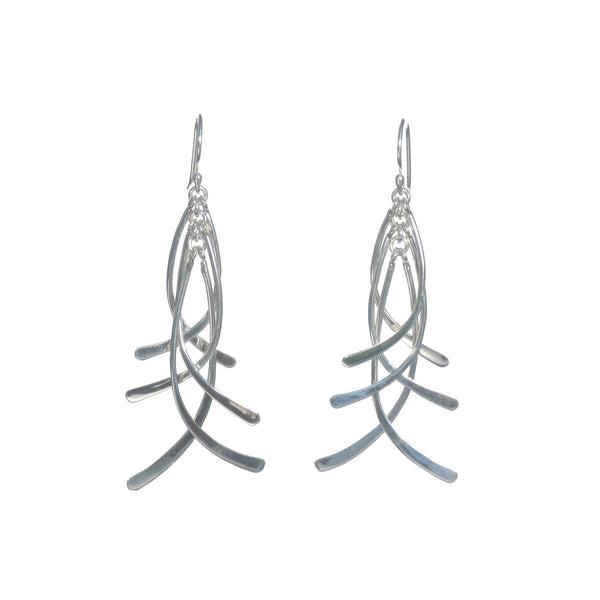 Hanging Curved Silver Bars Dangle Earrings - Pieces of Bali