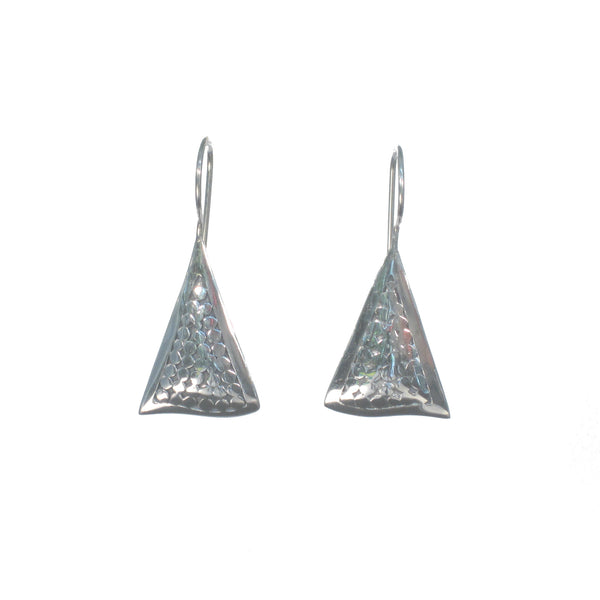 Silver Triangles with Dots Dangle Earrings - Pieces of Bali