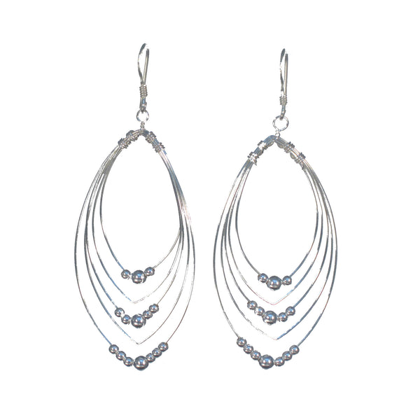 Silver Wire Rings with Beads Dangle Earrings - Pieces of Bali