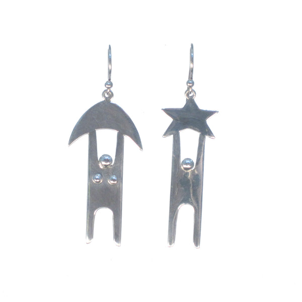 Man and Woman, Sun and Moon Dangle Earrings - Pieces of Bali