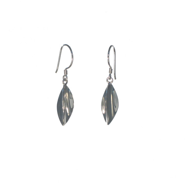 Curved Sterling Silver Leaf Dangle Earrings - Pieces of Bali