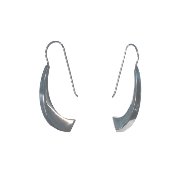 Long Curved Sterling Silver Dangle Earrings - Pieces of Bali