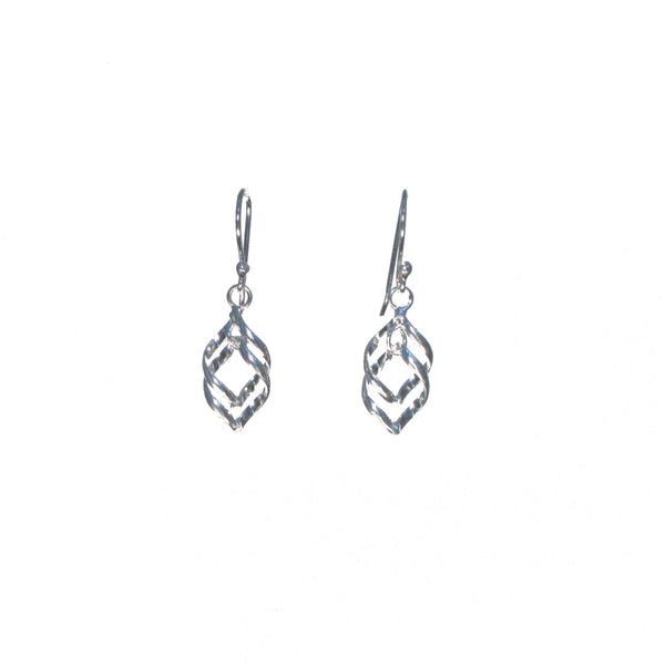 Silver Double Weave Dangle Earrings - Pieces of Bali