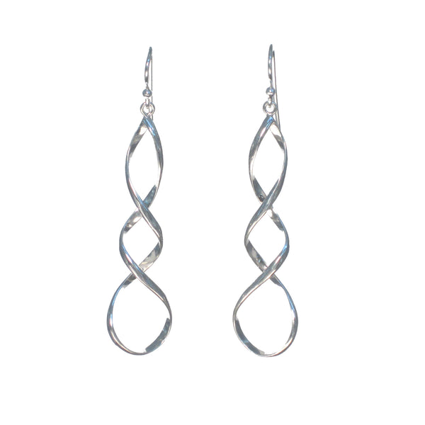 Long Sterling Silver Infinity Spiral Dangle Earrings - Pieces of Bali