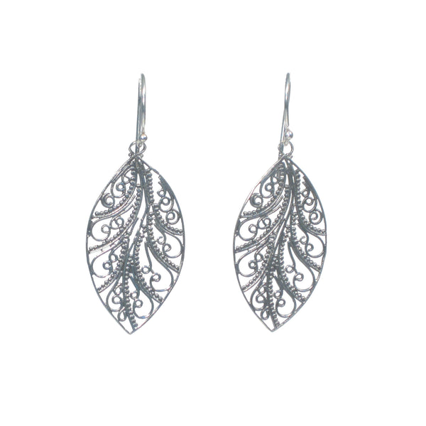 Lace Filigree Leaf Dangle Earrings - Pieces of Bali