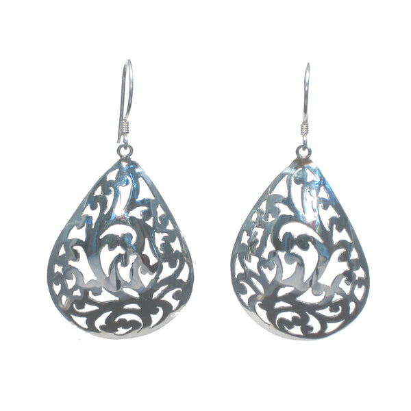 Silver Curved Pear with Flowers Dangle Earrings - Pieces of Bali