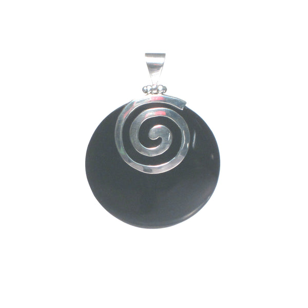 Round Shell with Silver Spiral Cap Pendant - Pieces of Bali
