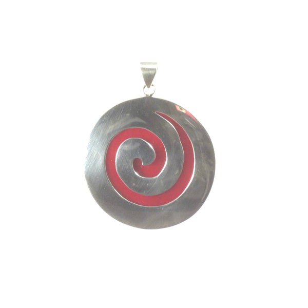 Large Round Shell with Sterling Silver Coil Pendant - Pieces of Bali