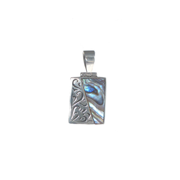 Sterling Silver Rectangle Pendant with Silver filigree and Shell Detail - Pieces of Bali