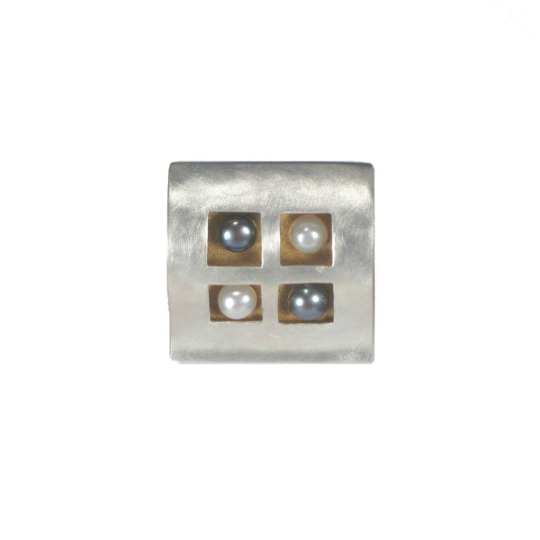 Sterling Silver Square Pendant with Gold Accents Black and White Pearls - Pieces of Bali