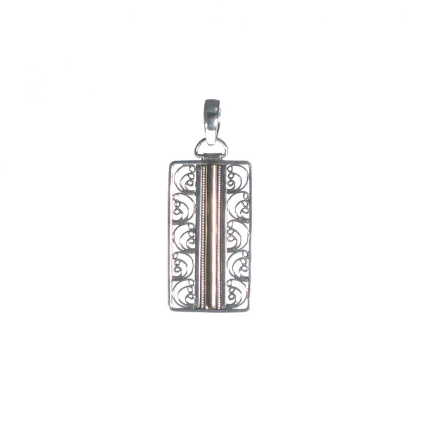 Filigree Rectangle with Rose Gold Detail Pendant - Pieces of Bali