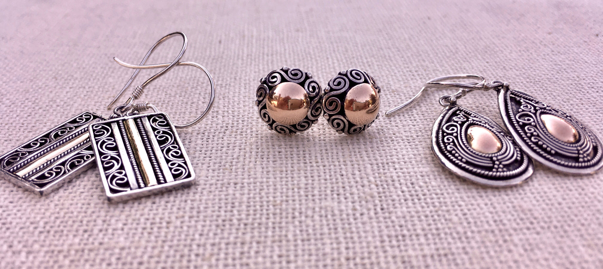 sterling silver and rose gold handmade earrings