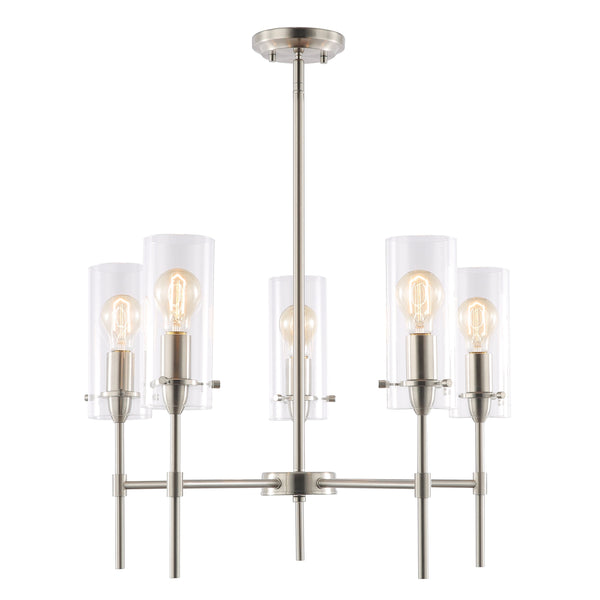 montreal clear glass five light chandelier light society