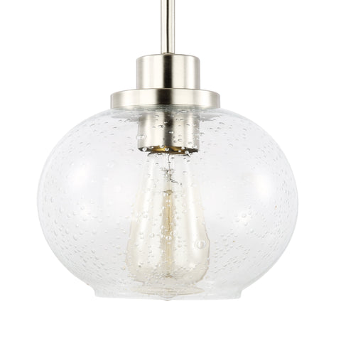 Sheridan Satin Nickel and Seeded Glass Pendant