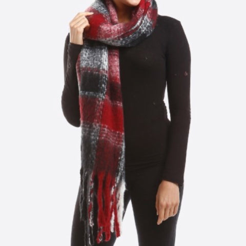 Fringe Red Plaid Scarf