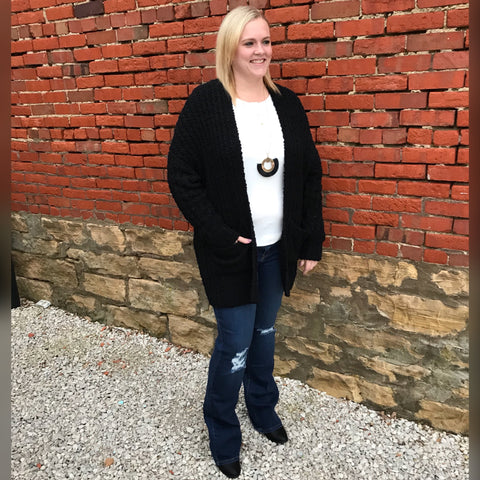 Black Popcorn Knit Cardigan - Plus
