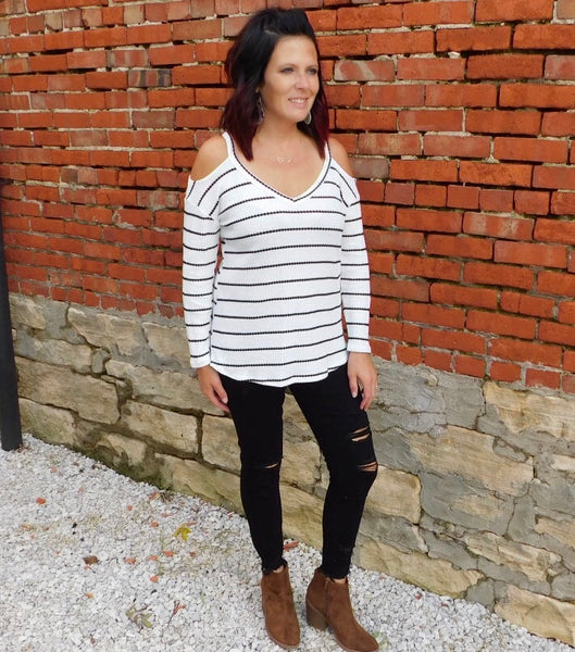 Ivory & Black Striped Cold Shoulder Thermal Top