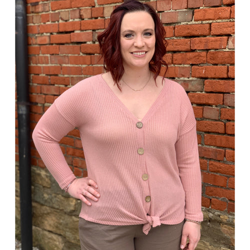 Mauve Button Knit Top - Plus