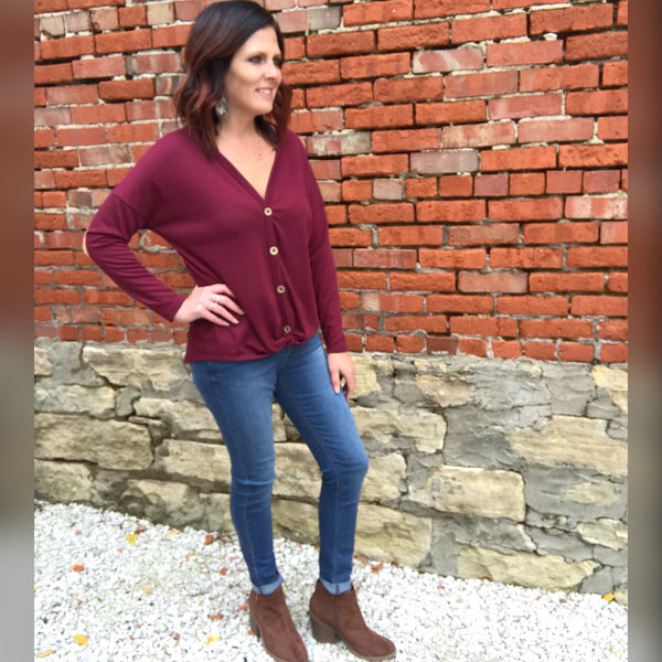 Burgundy Long Sleeve Knit Top