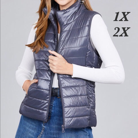 Grey Quilted Vest - Plus