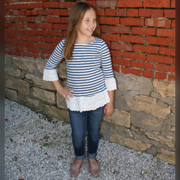 Girls Striped Eyelet Trim Top