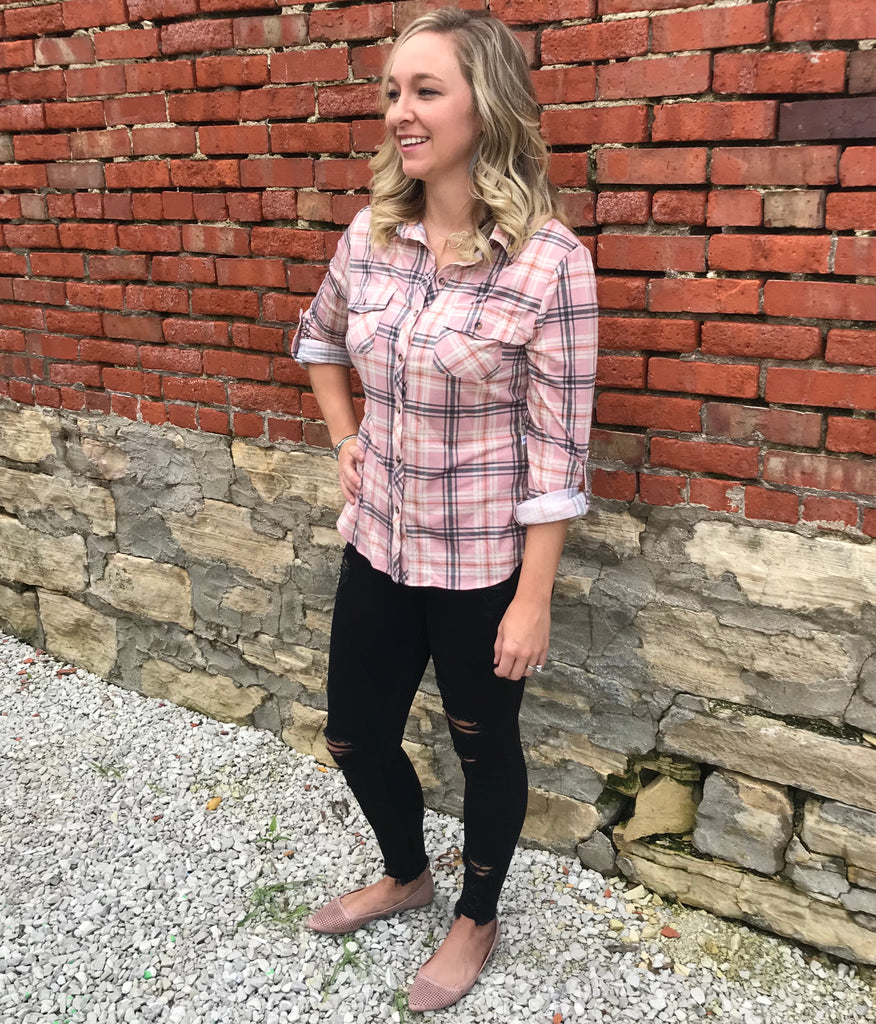 Mauve Plaid Button Top
