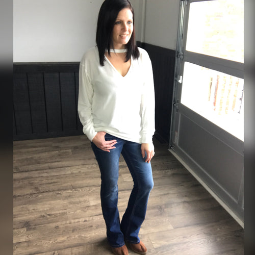 Ivory V-Neck Sweater