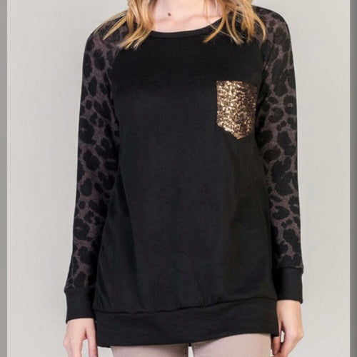 Leopard Sleeve Top - Plus