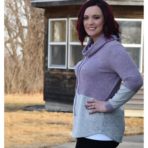 Cowl Neck Color Block Pullover - Plus