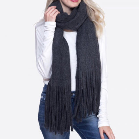 Charcoal Soft Knit Fringe Scarf