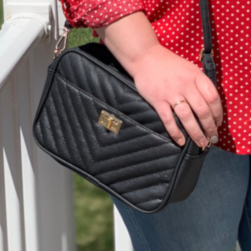Black Chevron Crossbody Bag