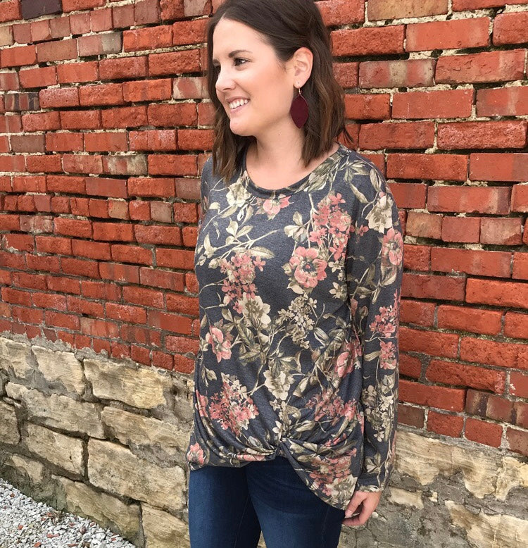 Long Sleeve Floral Print Top - Plus