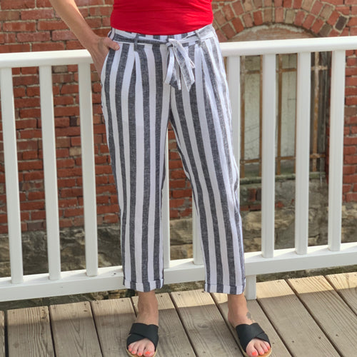 Striped Linen Crop Pants